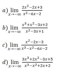 Límites de funciones menos infinito