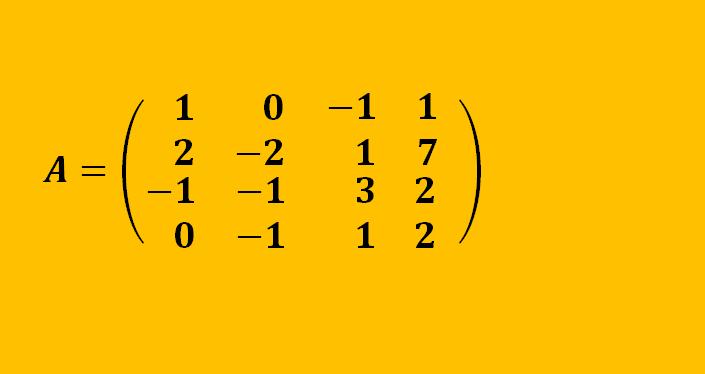 Rango de una matriz 4×4 por Gauss