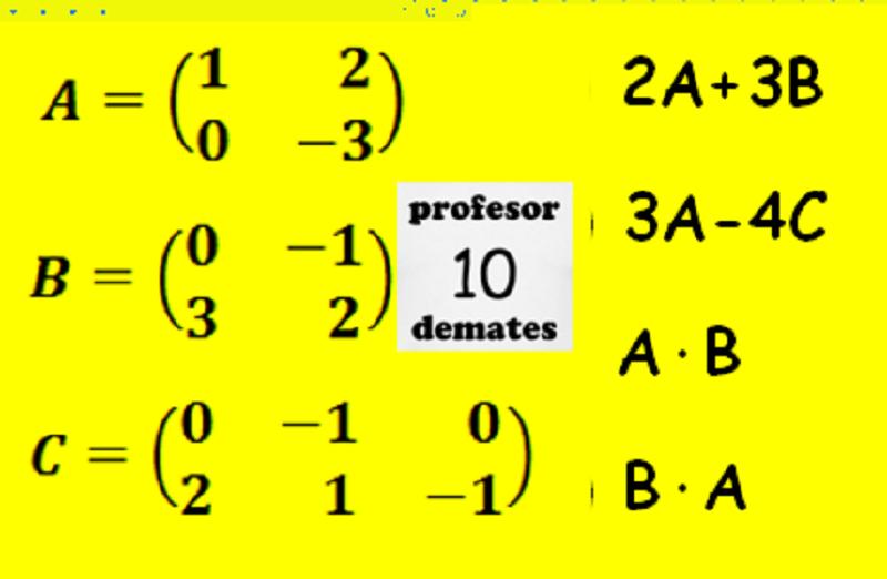 operaciones con matrices multiplicación potencia suma