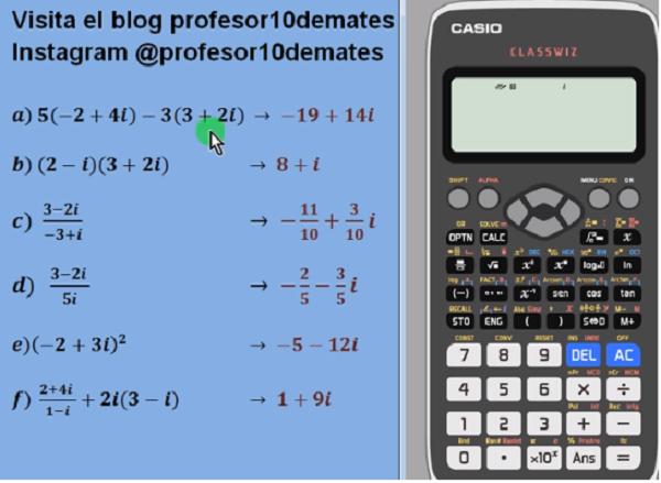 números complejos calculadora casio